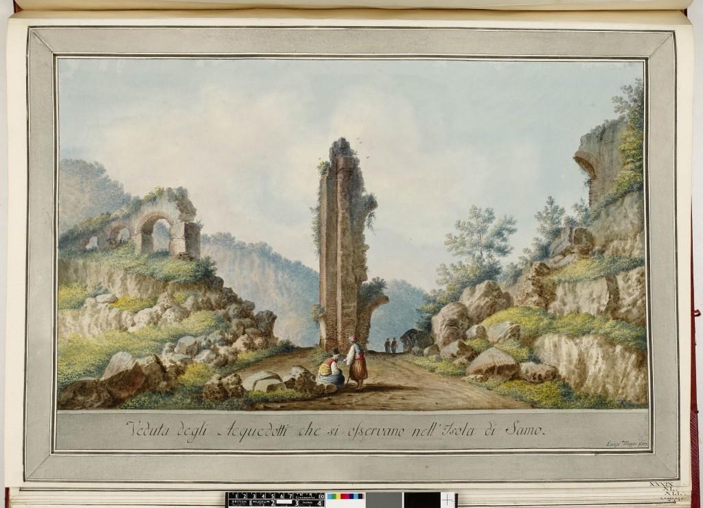 Luigi Mayer: Aquedukt auf Samos (1788). Sammlung des Britischen Museums. Veröffentlicht unter CC BY-NC-SA 4.0